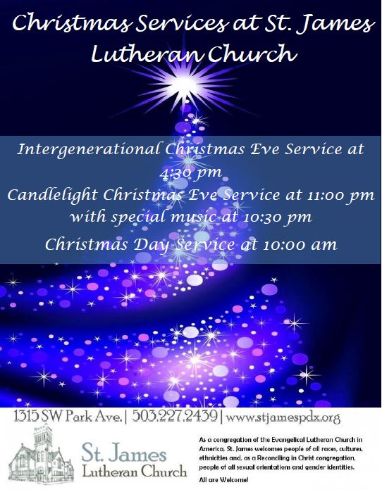 Candlelight Christmas Eve Service @ St. James Lutheran Church | Portland | Oregon | United States