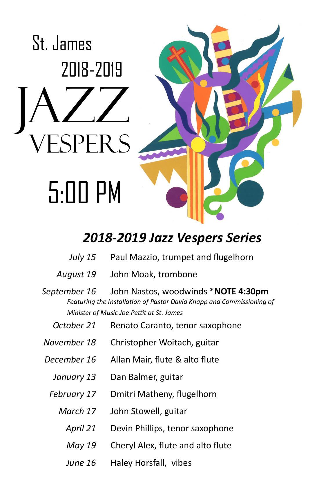 2018-2019 Jazz Vespers Series Poster